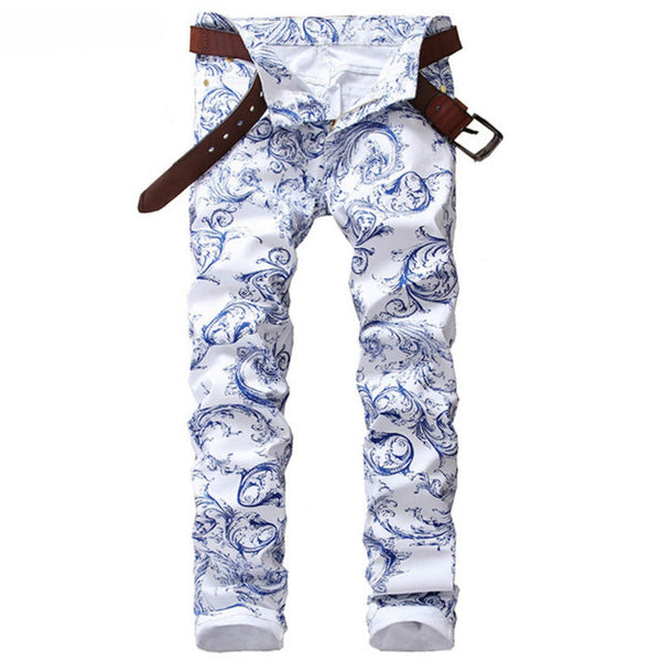 Blue White Print Jeans Men Skinny Cotton Slim Mens Stretch Denim Jeans Brand Hip Hop Casual Pencil Pants Elastic Male Trousers