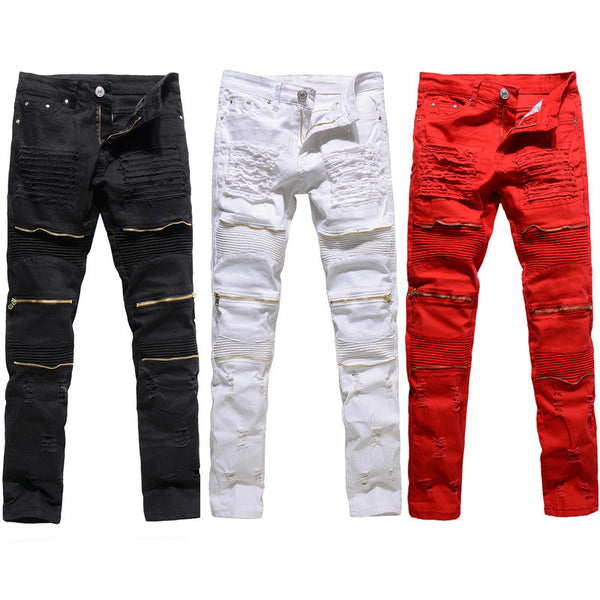 Men's Classic Ripper Zipper Slim Jeans (Black, White, Red)