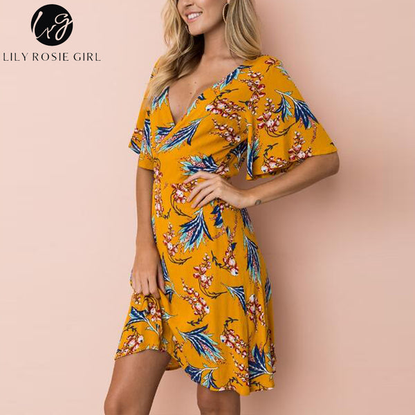 3be052c9e3faf3 ... Lily Rosie Girl Yellow Print Wrap Dress Flare Short Sleeve Floral Mini  Women Summer Dresses 2018 ...