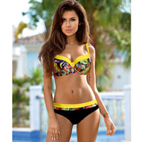 7ef38a229e NAKIAEOI 2018 Sexy Push Up Bikini Women Swimsuit Plus Size Swimwear Print Patchwork  Bikini Set Bathing