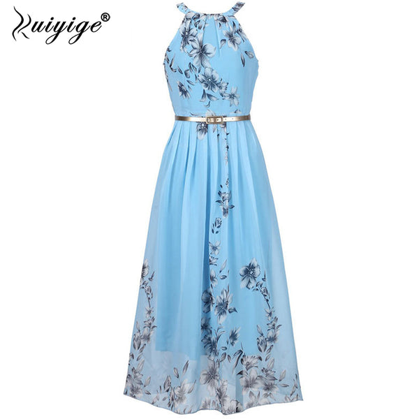 Ruiyige Floral print halter chiffon long dress Women ties up at the back 2018 boho maxi dresses vestidos Sexy beach summer dress