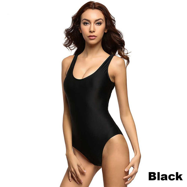 S-6XL Plus Size Padded Bather 2018 Sexy Scoop back Female Swimsuit one piece swimwear women monokini bathing suit swim wear V128 Black