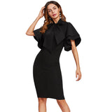 SheTie Neck Layered Flare Sleeve Pencil Dress Black Fashion Stand Collar Short Sleeve Elegant Party Dress