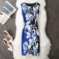 Soperwillton 2018 New Brand Dress Summer Women High Quality Printing bodycon bandage Business work office Women's Dresses #A764 BAB