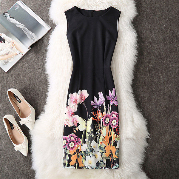 Soperwillton 2018 New Brand Dress Summer Women High Quality Printing bodycon bandage Business work office Women's Dresses #A764 Black