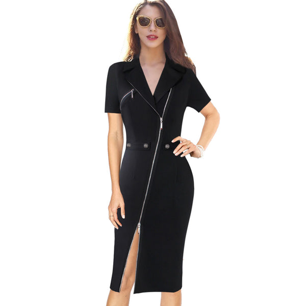 Vfemage Women Sexy Elegant Lapel Asymmetric Zip Moto Button Casual Work Office Business Party Bodycon Vestido Sheath Dress 10079