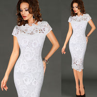 Vfemage Womens Elegant Sexy Crochet Hollow Out Pinup Party Evening Special Occasion Sheath Fitted Vestidos Dress 4272