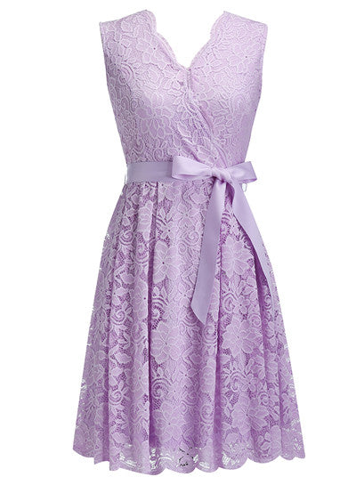 Women's Dress Sashes Dress Female New Arrival Free Delivery Cheaps Vintage Ladys Dresses Lavender