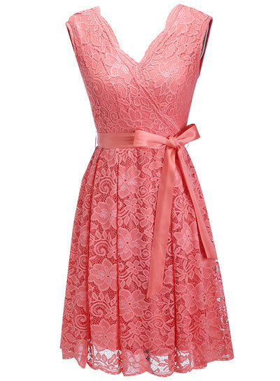 Women's Dress Sashes Dress Female New Arrival Free Delivery Cheaps Vintage Ladys Dresses Coral