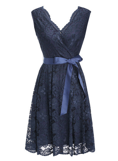 Women's Dress Sashes Dress Female New Arrival Free Delivery Cheaps Vintage Ladys Dresses Navy Blue
