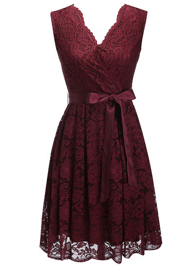 Women's Dress Sashes Dress Female New Arrival Free Delivery Cheaps Vintage Ladys Dresses Burgundy