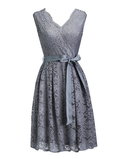 Women's Dress Sashes Dress Female New Arrival Free Delivery Cheaps Vintage Ladys Dresses Gray