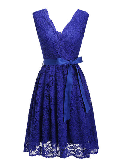 Women's Dress Sashes Dress Female New Arrival Free Delivery Cheaps Vintage Ladys Dresses Royal Blue