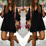 Women's Summer Beach Boho Dress Sexy Deep V-neck 3/4