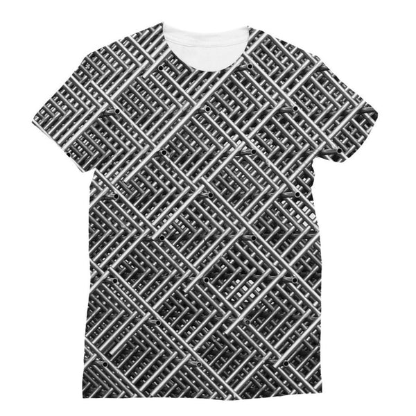 Abstract Gray Geometrical Sublimation T-Shirt S Apparel