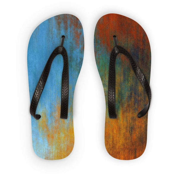 Abstract Tri Color Painting Flip Flops S Accessories