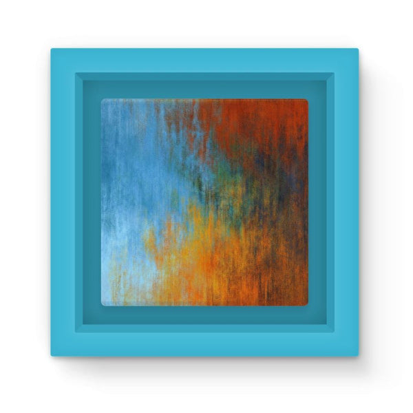 Abstract Tri Color Painting Magnet Frame Light Blue Homeware