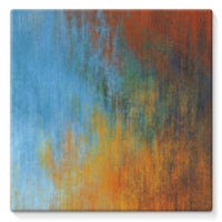 Abstract Tri Color Painting Stretched Canvas 14X14 Wall Decor