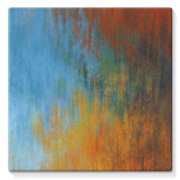 Abstract Tri Color Painting Stretched Eco-Canvas 10X10 Wall Decor