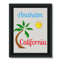 Anaheim California Palm Sun Framed Canvas 12X16 Wall Decor