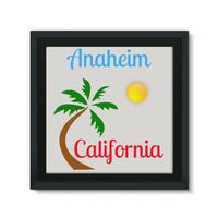 Anaheim California Palm Sun Framed Canvas 14X14 Wall Decor
