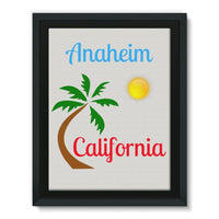Anaheim California Palm Sun Framed Canvas 24X32 Wall Decor