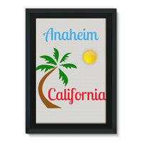 Anaheim California Palm Sun Framed Canvas 24X36 Wall Decor