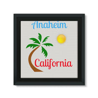Anaheim California Palm Sun Framed Eco-Canvas 10X10 Wall Decor