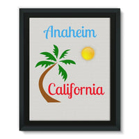 Anaheim California Palm Sun Framed Eco-Canvas 11X14 Wall Decor