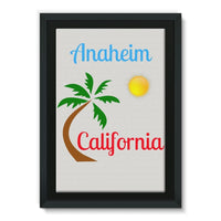 Anaheim California Palm Sun Framed Eco-Canvas 20X30 Wall Decor