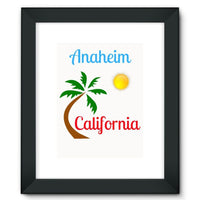 Anaheim California Palm Sun Framed Fine Art Print 12X16 / Black Wall Decor
