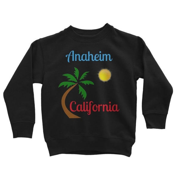 Anaheim California Palm Sun Kids Sweatshirt 3-4 Years / Jet Black Apparel