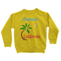Anaheim California Palm Sun Kids Sweatshirt 3-4 Years / Yellow Apparel