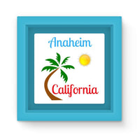Anaheim California Palm Sun Magnet Frame Light Blue Homeware