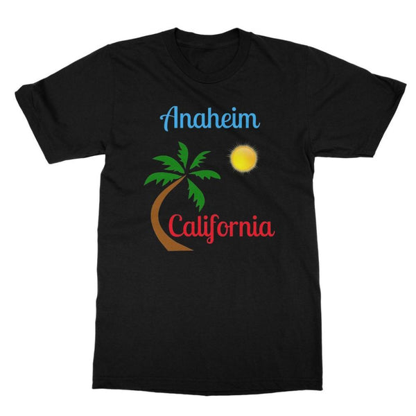 Anaheim California Palm Sun Softstyle Ringspun T-Shirt S / Black Apparel