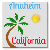 Anaheim California Palm Sun Stretched Canvas 10X10 Wall Decor