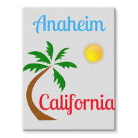 Anaheim California Palm Sun Stretched Canvas 12X16 Wall Decor