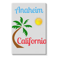 Anaheim California Palm Sun Stretched Canvas 24X36 Wall Decor