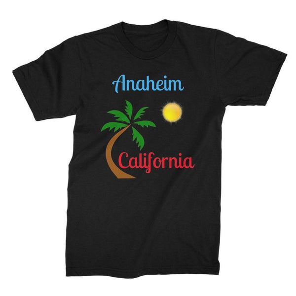 Anaheim California Palm Sun Unisex Fine Jersey T-Shirt S / Black Apparel