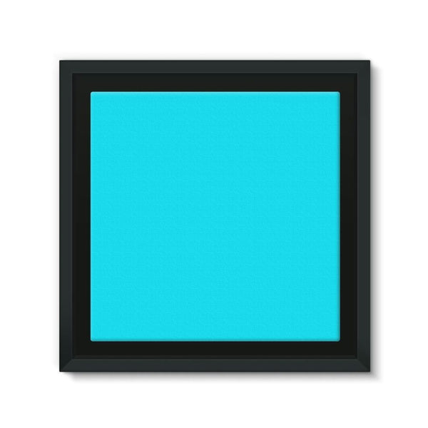 Aqua Blue Color Framed Canvas 12X12 Wall Decor