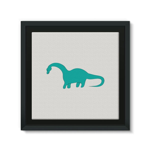Aquamarine Dinosaur Framed Canvas 12X12 Wall Decor