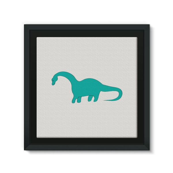 Aquamarine Dinosaur Framed Eco-Canvas 10X10 Wall Decor