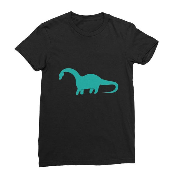 Aquamarine Dinosaur Womens Fine Jersey T-Shirt S / Black Apparel