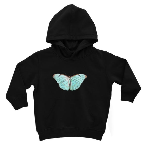 Baby Green Butterfly Kids Hoodie 3-4 Years / Jet Black Apparel