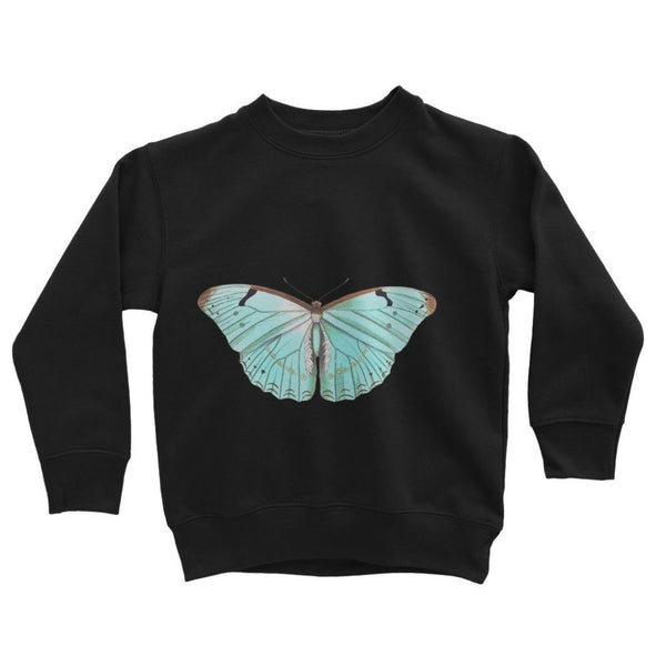 Baby Green Butterfly Kids Sweatshirt 3-4 Years / Jet Black Apparel
