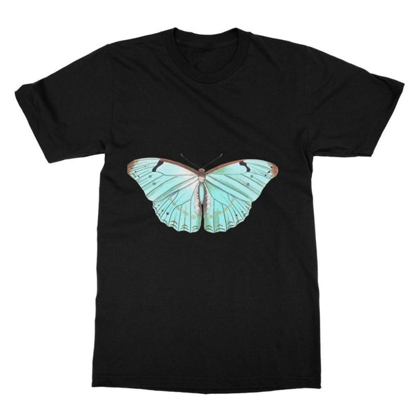 Baby Green Butterfly Softstyle Ringspun T-Shirt S / Black Apparel