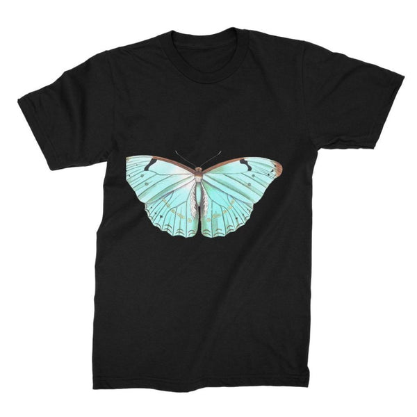 Baby Green Butterfly Unisex Fine Jersey T-Shirt S / Black Apparel