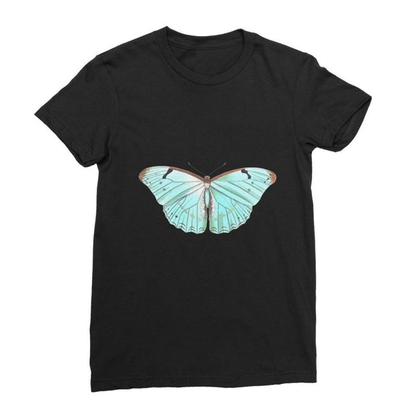 Baby Green Butterfly Womens Fine Jersey T-Shirt S / Black Apparel