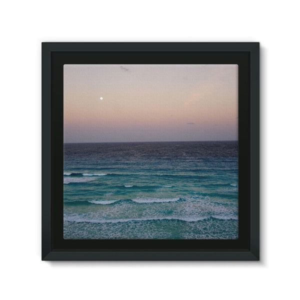 Beach And Sky At Sunset Time Framed Canvas 12X12 Wall Decor