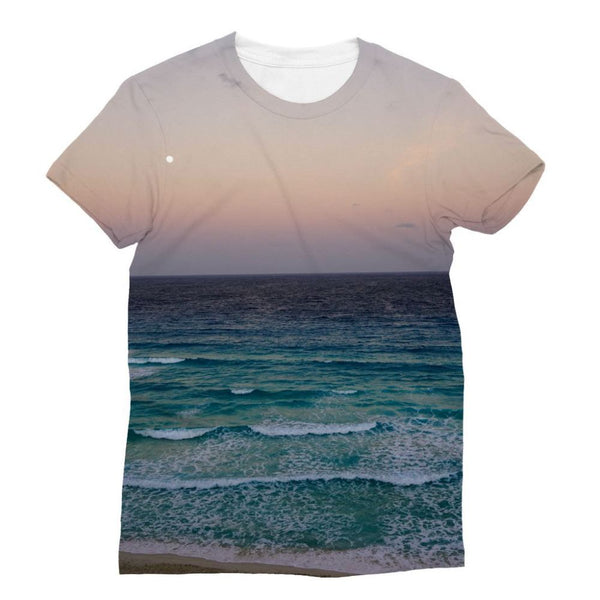 Beach And Sky At Sunset Time Sublimation T-Shirt Xs Apparel
